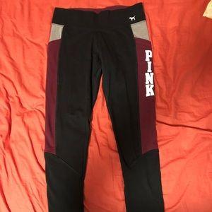 Victorias Secret Pink Black Leggings with Pockets